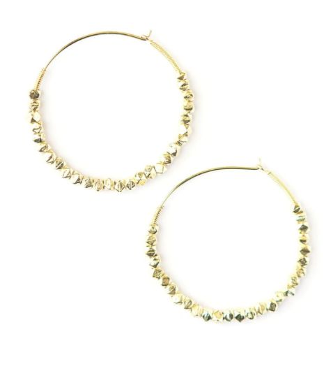 Beaded Hoops - Brass