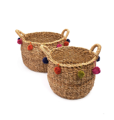 POM POM NESTING BASKETS (SET OF 2)