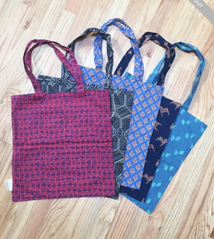 Upcycled Fabric Reusable Tote Bag