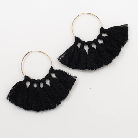 The Tassel Hoop Earrings - Black