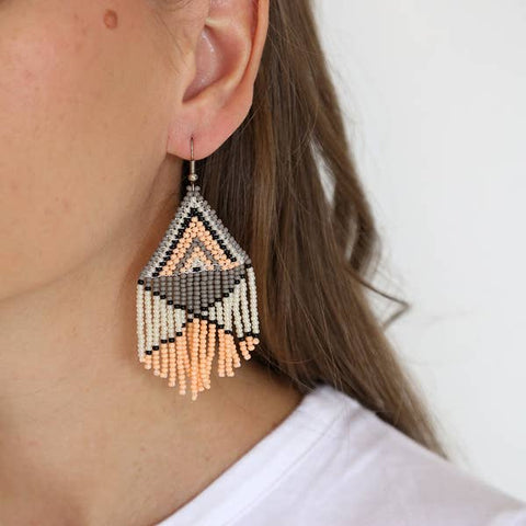 Peach Beaded Earrings