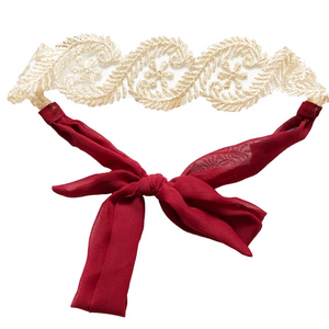 Headbands of Hope - Lace Tie Cabernet