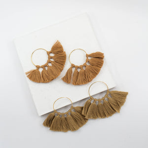 The Tassel Hoop Earrings - Tan