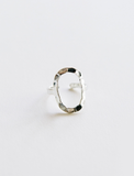 Hammered Oval Ring Silver