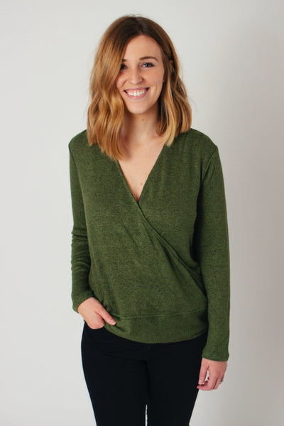 Faux Wrap Pullover
