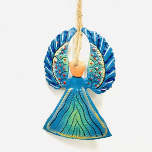 Painted Steel Angel Ornament