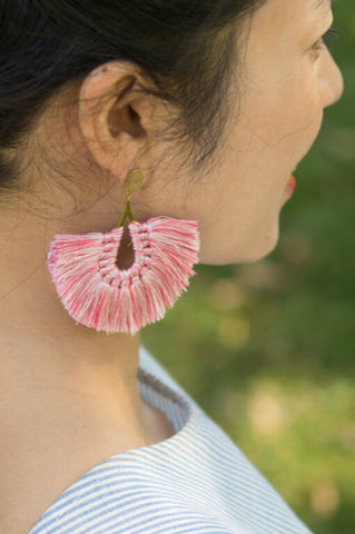 Mindy Cotton Candy; Tassel Earrings