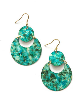 Cloudy Waters Painted Earrings - Turquoise