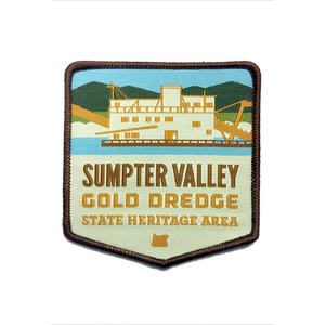 "Sumpter Valley Gold Dredge State Heritage Area Iron-on 3"" Patch"