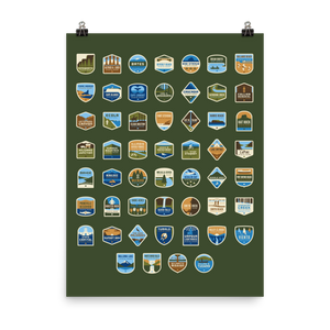 "53 Oregon State Parks Framable Poster, 18""x24"""