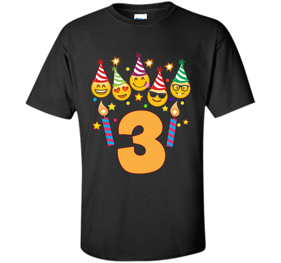 Home Custom Ultra Cotton Products Emoji Birthday Shirt For Three 3 Year Old
