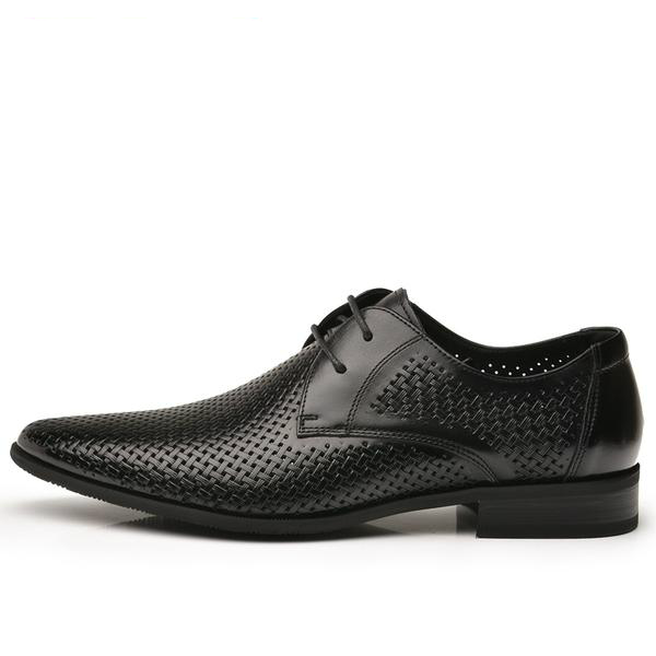 black woven leather oxford