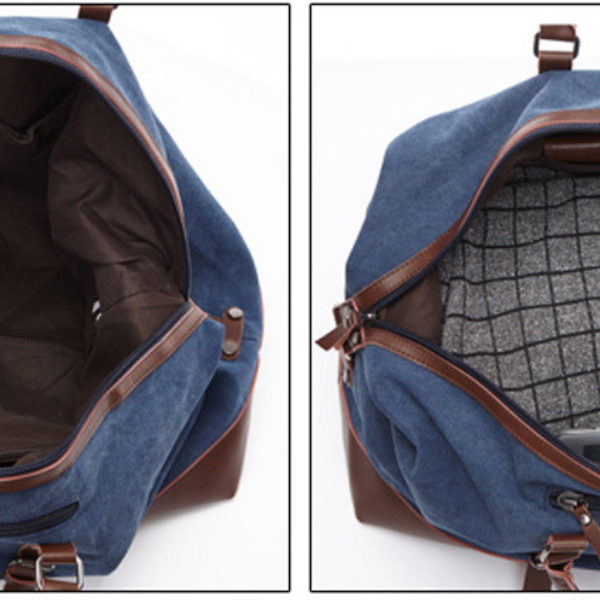 Hunter Canvas And Leather Duffle Blue Top View Looking Into Main Compartment