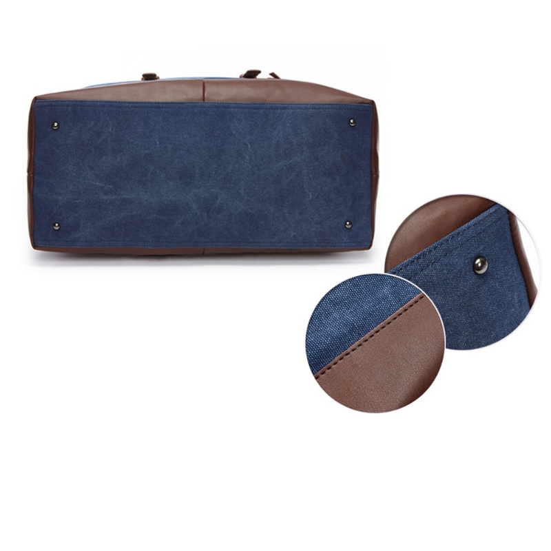 Hunter Canvas And Leather Duffle Blue Bottom Of Bag