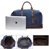 Hunter Canvas And Leather Duffle Blue Different Views Of Inside the Duffle And With Laptop