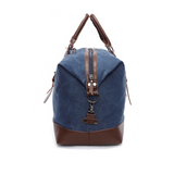 Hunter Canvas And Leather Duffle Blue Side Or End View of Bag