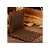Men's Slim Vertical Leather Billfold Coffee Interior