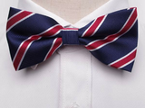 Pre-Tied Bowtie Navy Red White Stripe