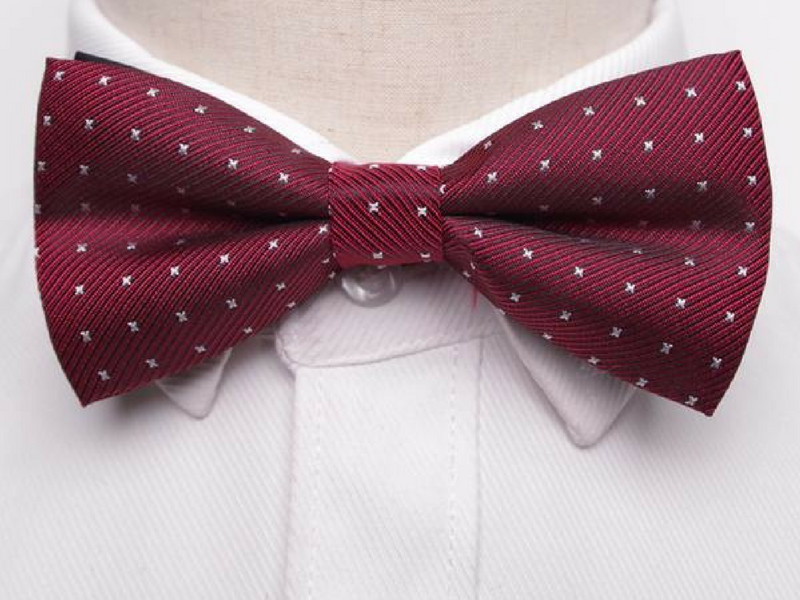 Pre-Tied Bowtie Red Stitch Dot