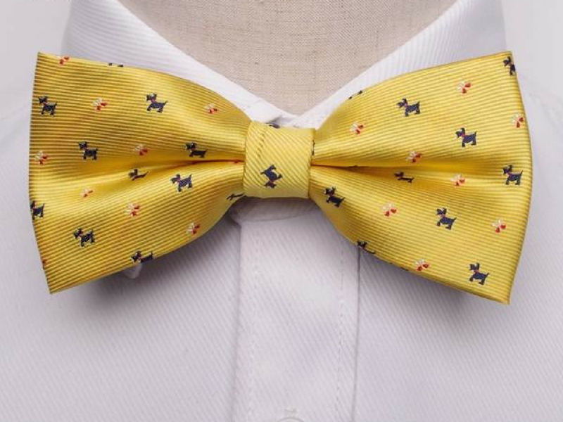 Pre-Tied Bowtie Yellow Terrier Print