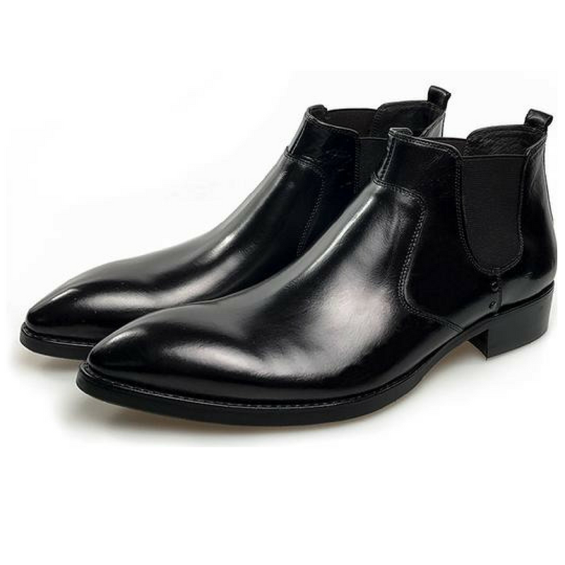 Genuine leather pointed-toe chelsea boot