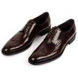 genuine leather wing-tip derby shoes