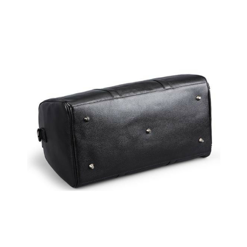 Edmond Jnr Leather Weekend Travel Bag Black Bottom