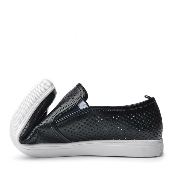 black perforated leather slip on sneaker flexible rubber sole