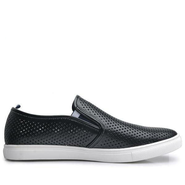 black perforated leather slip on sneaker back tab