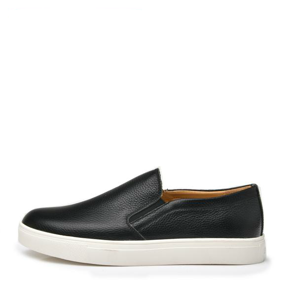 black genuine leather slip-on sneaker