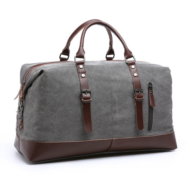 CANVAS AND LEATHER DUFFLE GREY