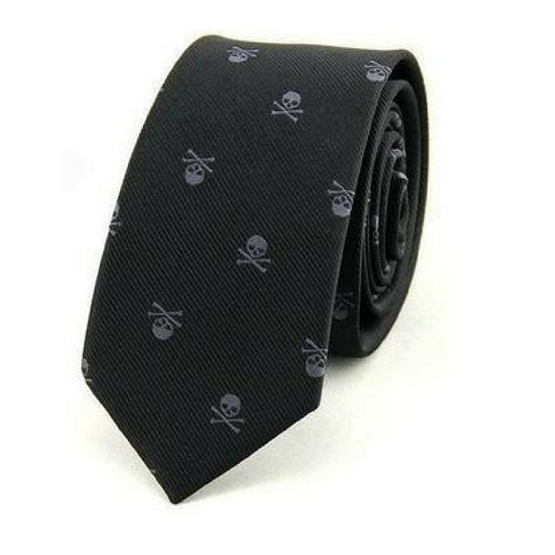 Men's Skull Neck Tie Black Grey