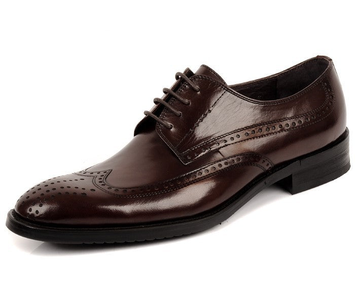 genuine leather wing-tip derby shoes brown