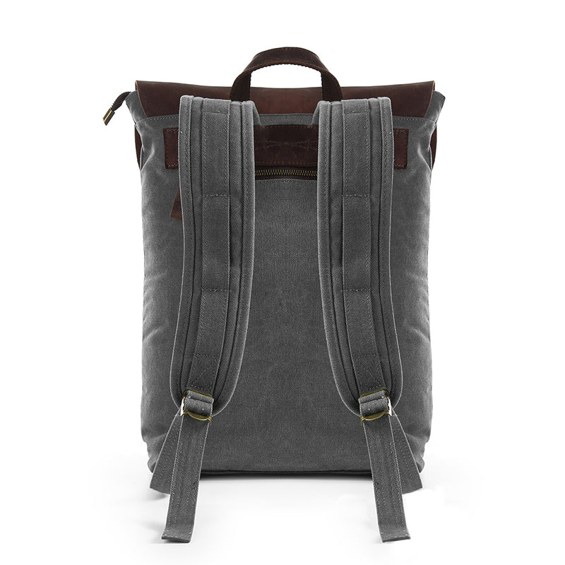 Grey double-buckle canvas and leather backpack back