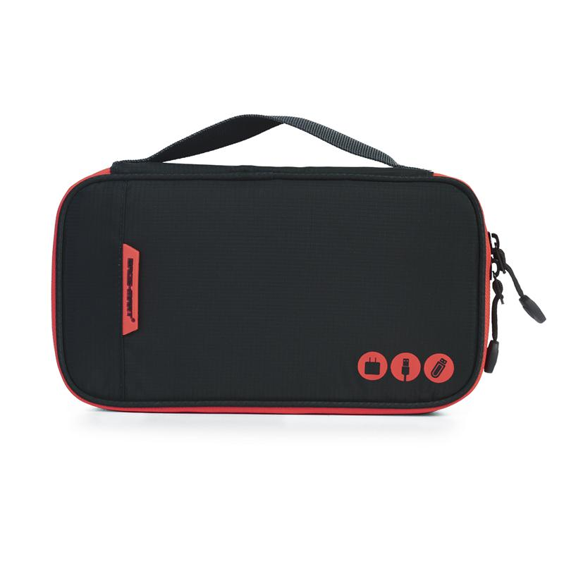 Digital Accessories Travel Bag / Organizer Black And Red Closed
