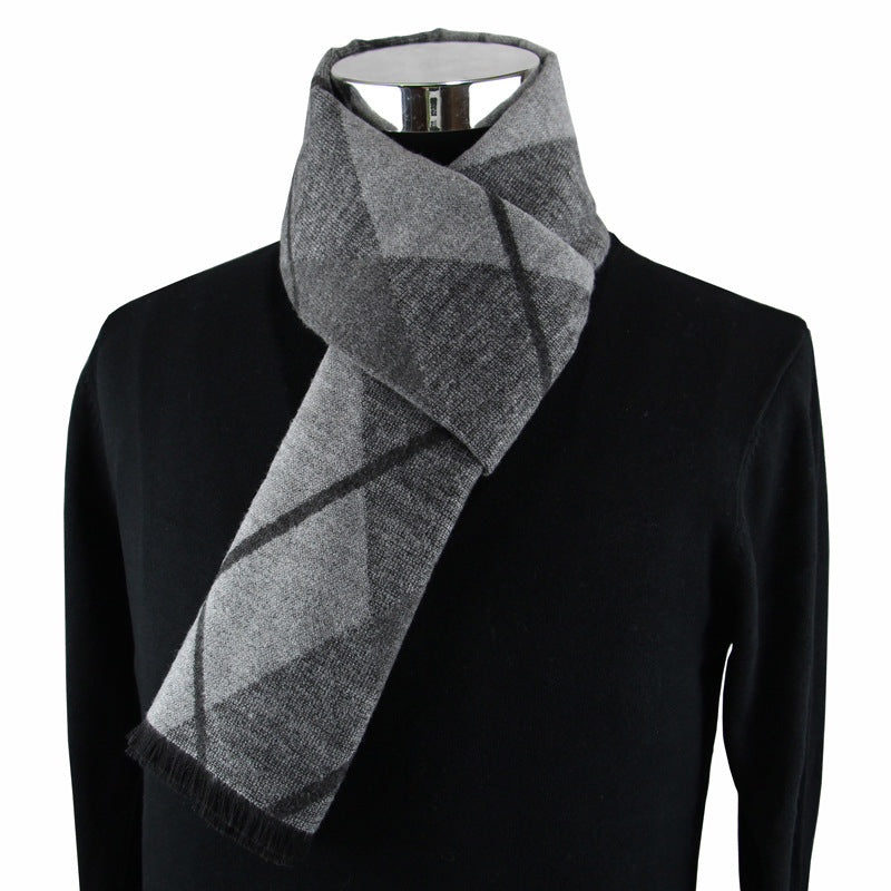 Men's Fringed Cashmere Scarf Grey Plaid On Model