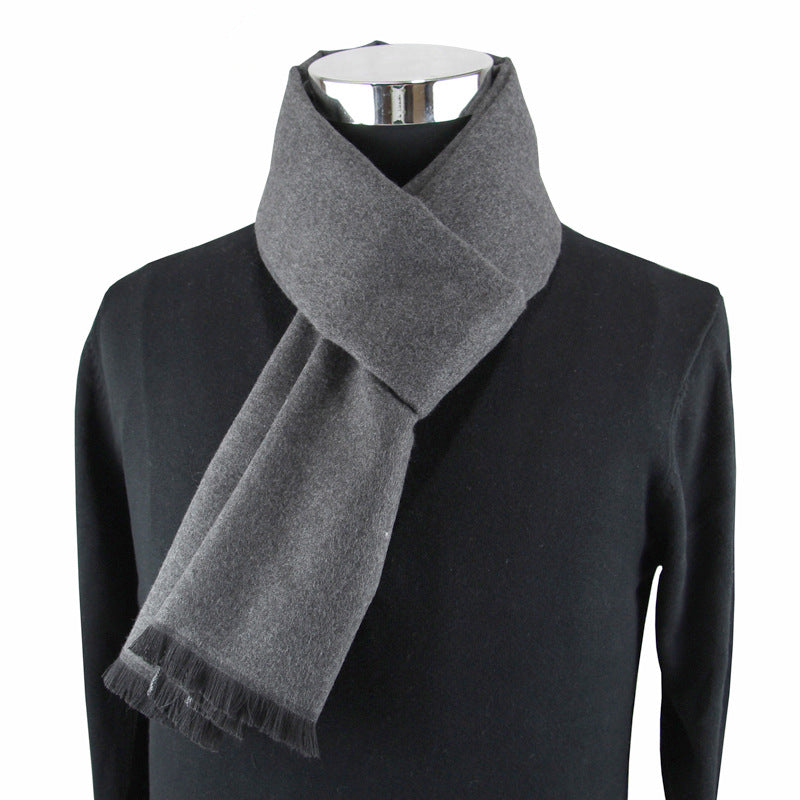 Men's Fringed Cashmere Scarf Grey
