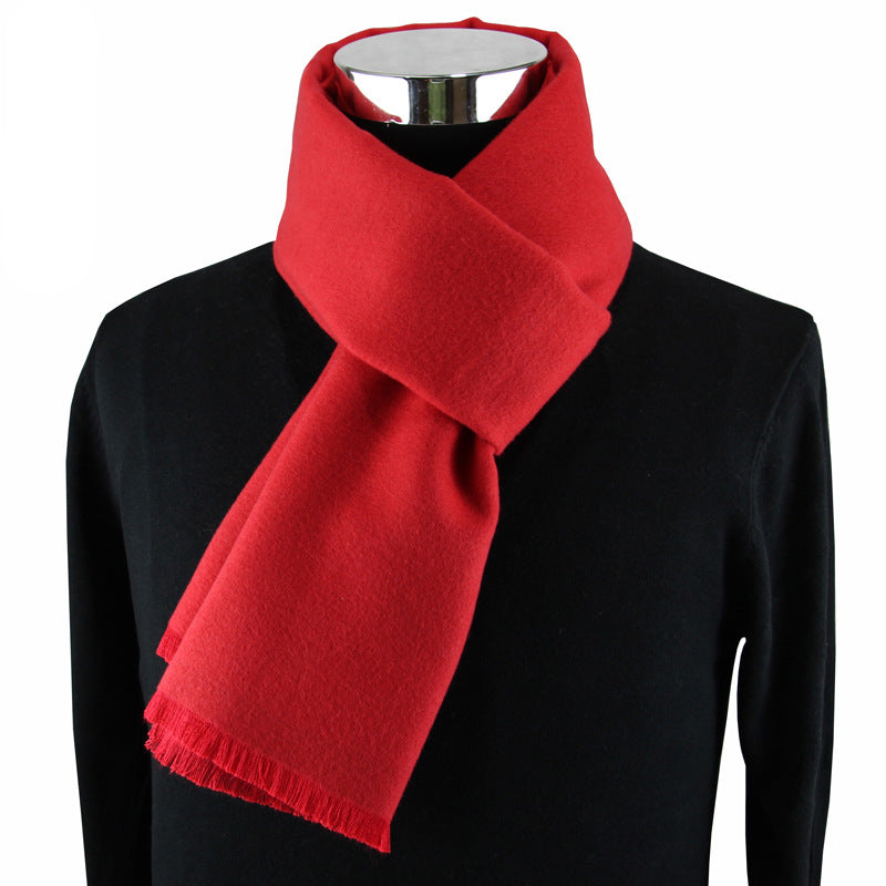 Men's Fringed Cashmere Scarf Red