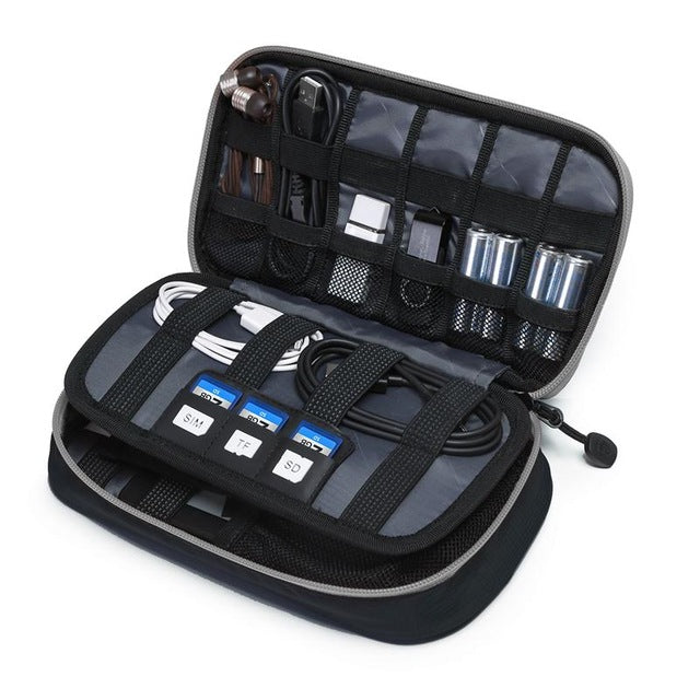 Digital Accessories Travel Bag / Organizer Black And Grey Open With Packed Items