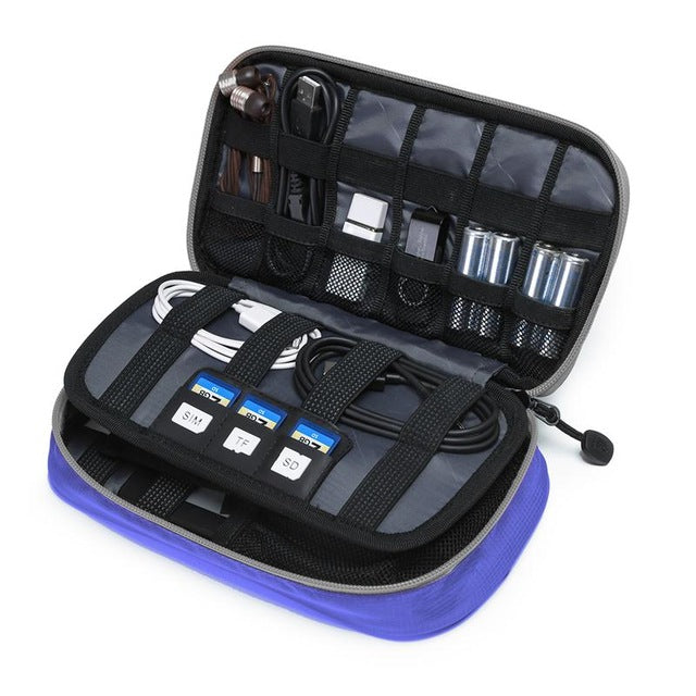 Digital Accessories Travel Bag / Organizer Dark Blue Open With Packed Items