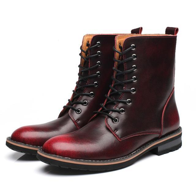 Lace-up high top boots red wine