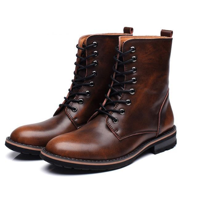 Lace-up high top boots brown