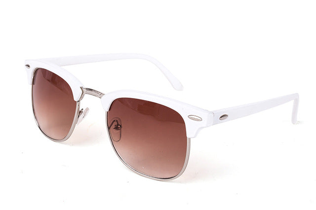 Half-Metal Sunglasses White Brown