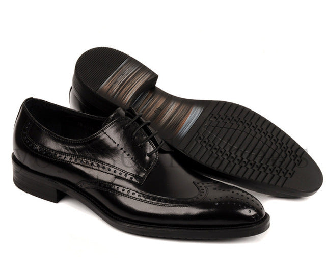 genuine leather wing-tip derby shoes with rubber sole