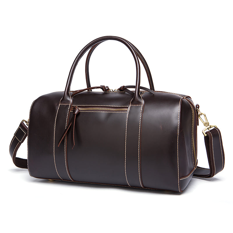 Genuine Leather Travel Bag Chocolate Angle With Shoulder Strap