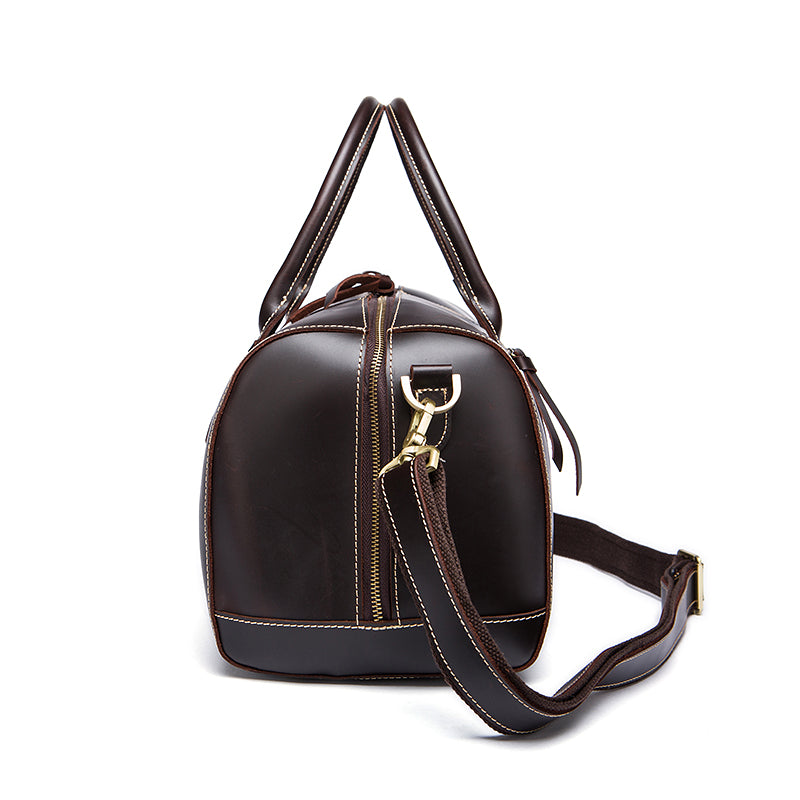 Genuine Leather Travel Bag Chocolate Side