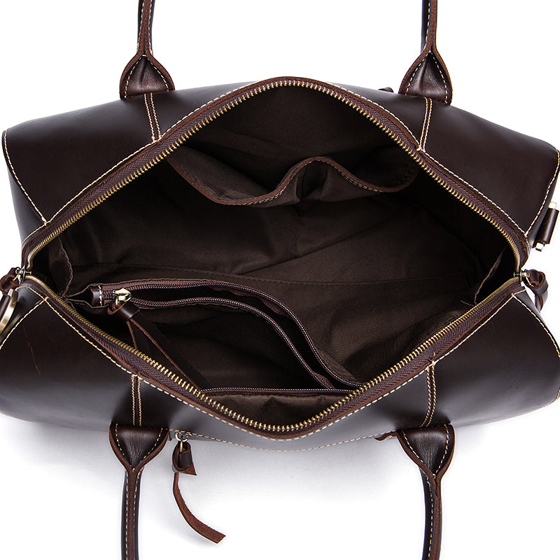 Genuine Leather Travel Bag Chocolate Top View Open Inside
