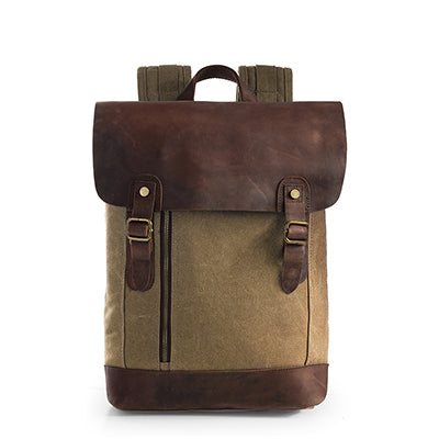 khaki double-buckle canvas and leather backpack