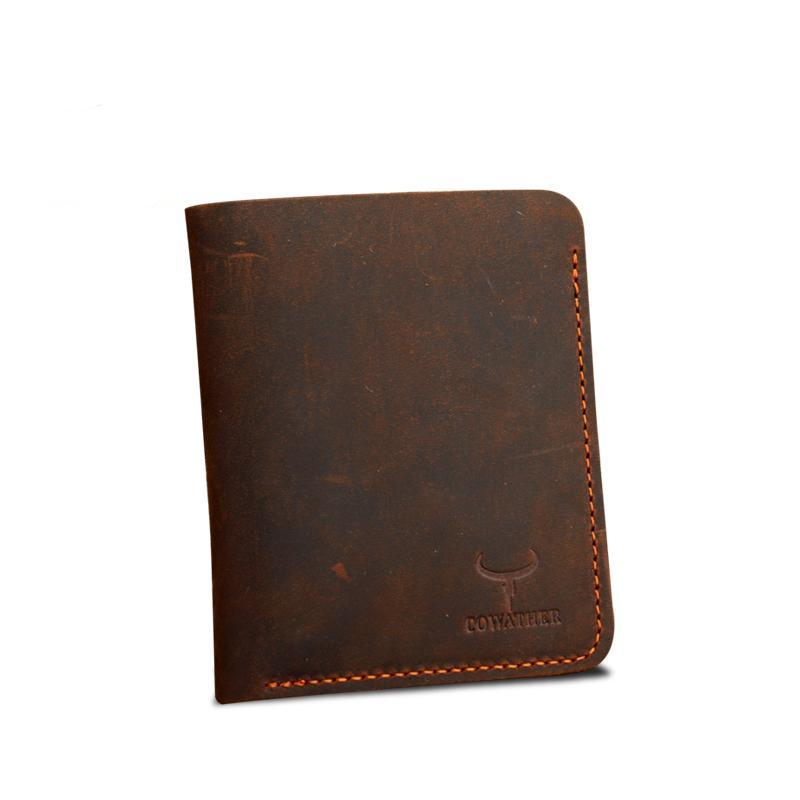 Men's Slim Vertical Leather Billfold Coffee
