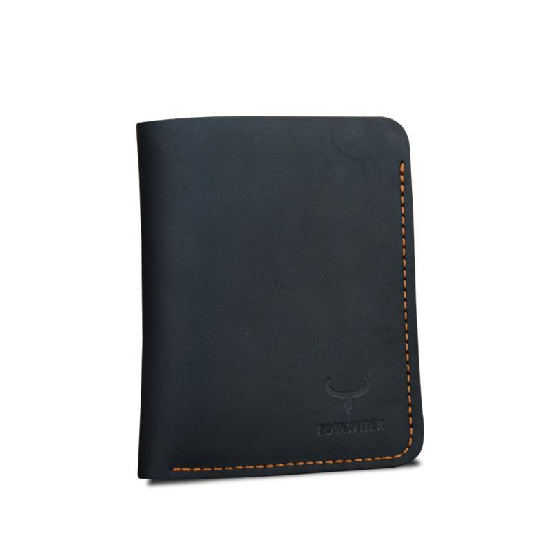 Men's Slim Vertical Leather Billfold Black